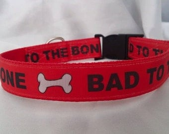 Handmade Red Bad to the Bone Dog Collar (Matching Lead Available)