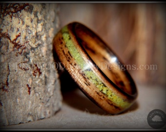 """Bentwood Ring - """"Inlaid Ole Smoky"""" Olive Wood Ring with Apple Green Turquoise Inlay- custom handcrafted steam bent wood rings"""