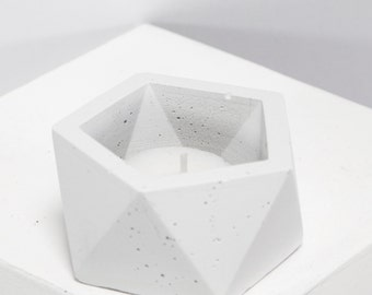 Stackable Concrete Geometric Tea Light Candle Holder and Catch All Vessel White