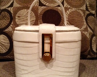 RENDL Handbag Embossed White Leather