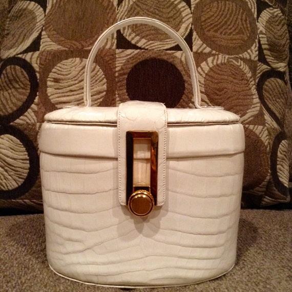 RENDL Handbag Embossed White Leather