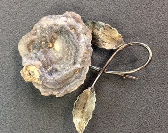 Unusual One-of-a-Kind Handmade Brooch with Druzy Geode. Free shipping