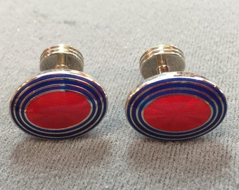 Red and Blue Guilloche Enamel Cufflinks- Trump.  Free shipping