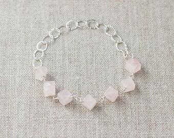 Rose Quartz Bracelet, Rose Quartz Hammered Sterling Silver Bracelet