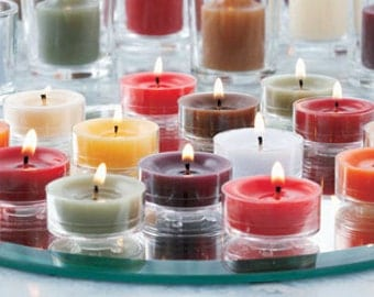 Variety of Scented soy Tea Light candles perfect for floating candles, dinner parties and special occasions.  Tea Lights burn 4-5 hrs.
