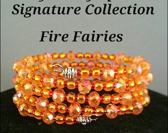 Orange Crystal Memory Wire Bracelet / orange wrap bracelet / orange coil bracelet / orange slinky bracelet / orange statement bracelet