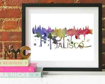Jalisco Art, Jalisco Skyline, Jalisco map, Jalisco skyline, Jalisco map print