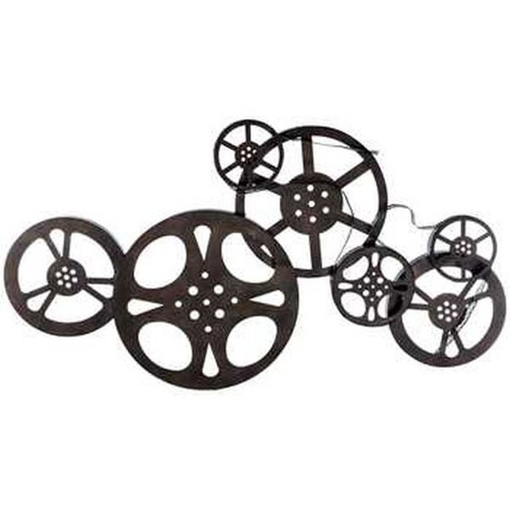 Large 33 Antique Bronze Metal Movie Reel Wall Art By