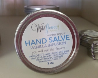 Hand Salve Winter Repair Vanilla Infusion - you can see the petals!