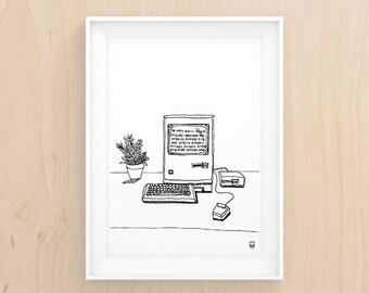 Work it Retro Style - B&W Illustration - Printable Art