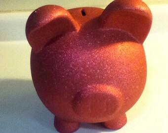 Pink Glitter Piggybank
