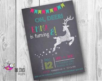 Chalkboard Reindeer Invitation, Reindeer Invitation, Reindeer Birthday, Christmas Birthday, Christmas Party, Reindeer Party, Chalkboard