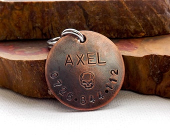 Dog Tags For Dogs, Dog ID Tag, Dog Tag, Hand Stamped Dog Tags, Medium to Large Copper Dog ID Tag, Pet Tags, Pet ID Tags, Dog id