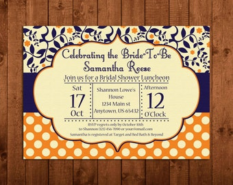 Bridal Shower Invitation, Navy Blue and Orange, Flowers Vines Polka Dots, Digital, Printable, DIY