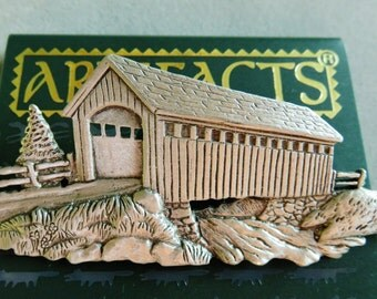 JJ Jonette Old Country Covered Bridge Brooch Pin