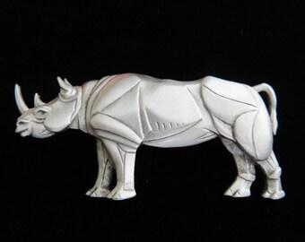 Sale/ JJ Jonette African Rhinoceros Brooch Pin