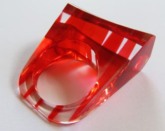 Funky Vintage 1960's Geometric Lucite Statement Ring