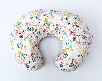 Cream floral nursing pillow cover