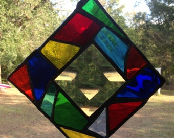 Stained Glass Window Suncatcher Abstract Bevel 4x4 - Available Now