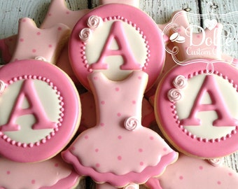 Ballet Tutu Ballerina Birthday First Birthday Monogram Cookies