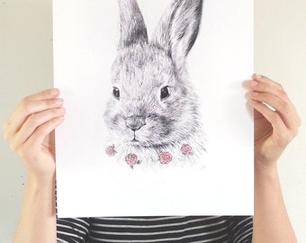 Bunny Print (large) -  Modern animal art print of a bunny rabbit. Pencil and watercolor
