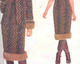 Vogue 2233, Sz 12-16. 90s Designer ANNA SUI Pattern. EASY Faux Fur Trimmed Princess Seam Jacket & Sleeveless Square Neck Fur Trimmed Dress