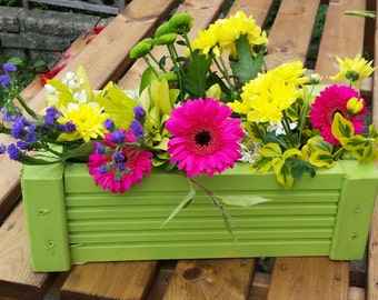 Hand-made, wooden painted planter with wire bottom
