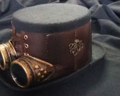 Steampunk top hat - bespoke design, felt and red brocade