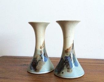 Pair of Vintage Studio Pottery Candle Holders or Vases