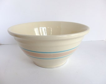 Vintage Pink and Blue Banded 10 inch Mixing Bowl. McCoy Oven Ware Bowl.