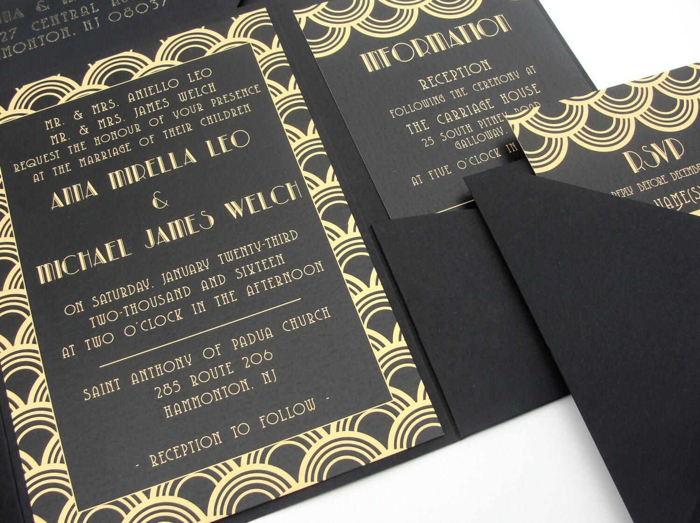 Deco Wedding Invitations: Pocket Fold Wedding Invitations Set / Deco Scallop