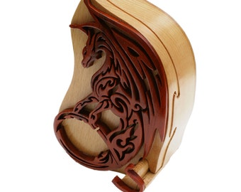 Fire Breathing Dragon Tribal Art Puzzle Box
