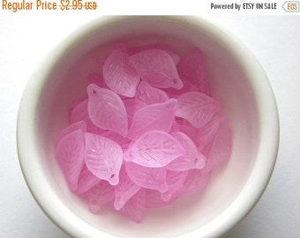 SALE 20 Pale Pink Lucite Leaf Charms