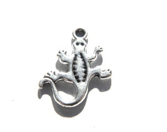 6 Silver Lizard Charms