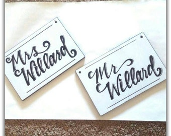Personalized Mr & Mrs Last name wedding chair signs