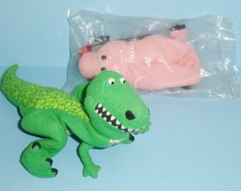 Toy Story Hamm and Rex Plush Hand Puppets Hamm is Sealed In Package 1995 Burger King Piggy Bank and Dinosaur Puppets
