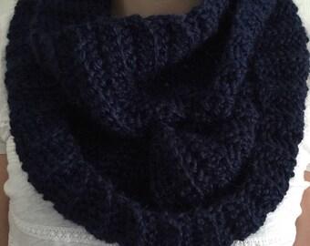 Crochet Infinity Scarf - Navy scarf