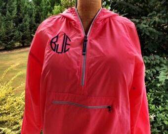 Monogrammed Rain Jacket-Mint-Raincoat Jacket Pullover-Charles