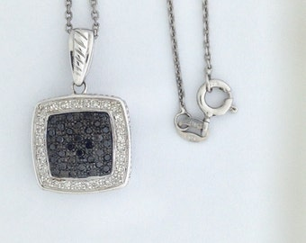 Black and White Genuine Diamond Pendant 925 Sterling Silver