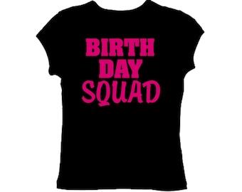 BIRTHDAY SQUAD shirt . Hot pink and black birthday shirts. Ladies birthday shirts. Adult birthday shirts .Birthday party shirt .