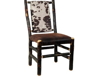 Rustic Hickory Upholstered Seat and Back Dining Chair- Brown Cow Hide Fabric