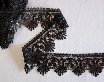 Stunning wide black floral pattern lace with opaque black sequins