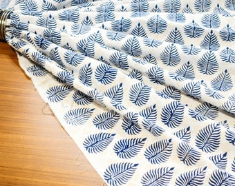 Cotton hand block print Blue Yellow Fern Print Fabric