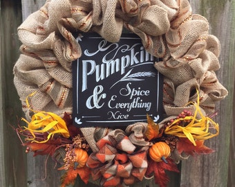 Fall Wreath, Pumpkin Wreath, Burlap Wreath, Rutic Fall Wreath, Front Door Wreath, Fall Pumpkin Wreath, Fall Deco Mesh, Fall Front Door
