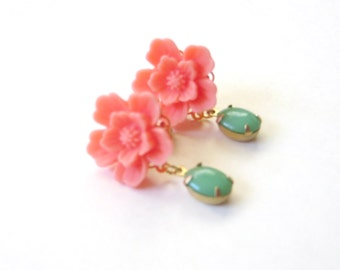 SAKURA earrings, Save the coral and have the vintage beads