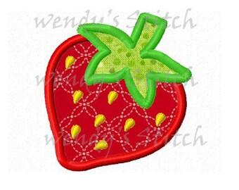 mini strawberry applique machine embroidery design digital pattern