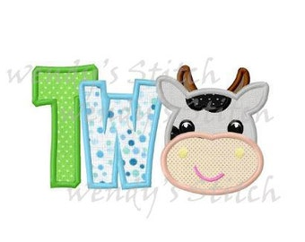 cow applique birthday number two machine embroidery design