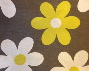 LIL PLAIN JANE Fabric - Michael Miller - Quilting - Sewing - Daisy - Daisies - Home Decor - Grey - Citron - Nursery - Baby - Floral