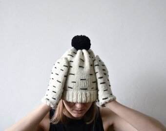 BIRCH/hand knitted ivory color mitens and hat set with embroidery from natural wool black and white minimalistic mittens