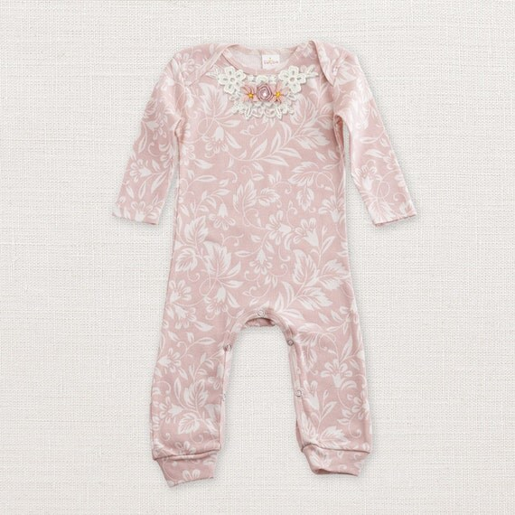 Sale baby girl romper filigree pink and ivory baby girl long sleeve